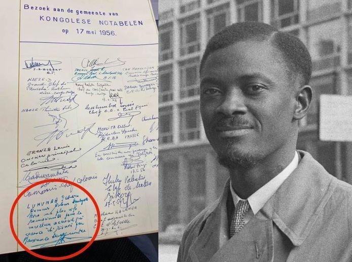 Links het gulden boek van de gemeente Zelzate met de handtekening van Patrice Lumumba, rechts Patrice Lumumba als premier.