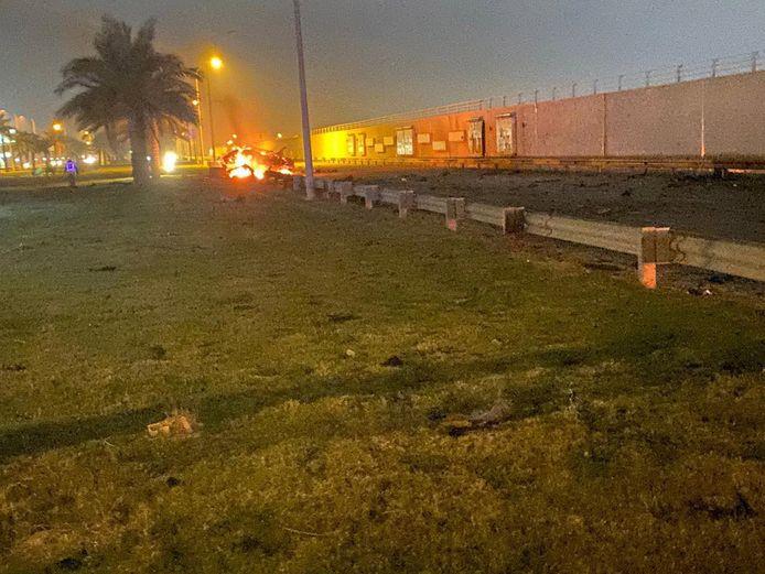 De precisie-aanval vond plaats op een weg naast de luchthaven van Bagdad.