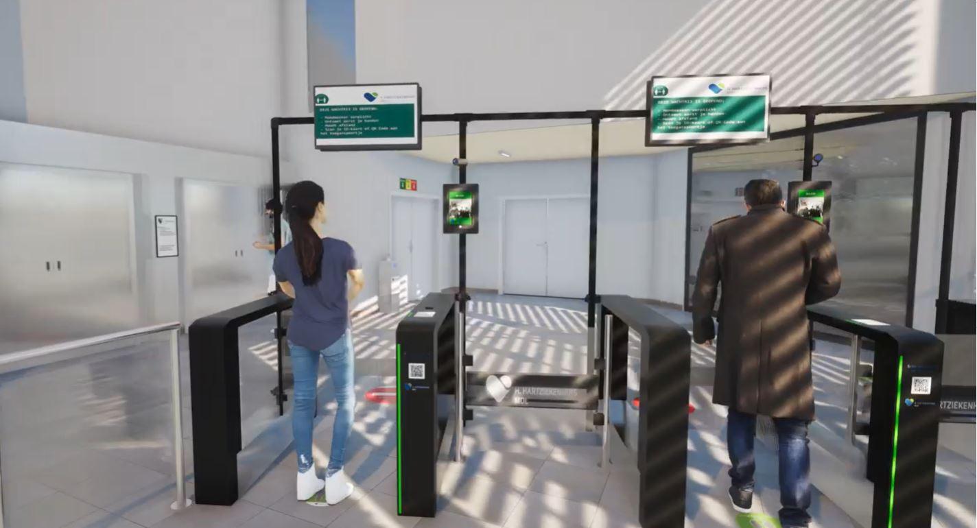 De nieuwe automatische toegangspoorten die geplaatst worden in de inkomhal van het Heilig Hartziekenhuis.