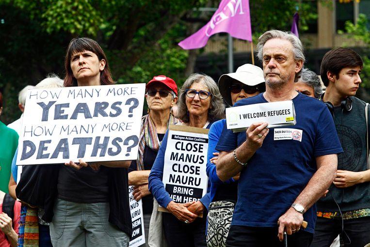 Australiërs demonstreren tegen detentiecentra. Beeld EPA