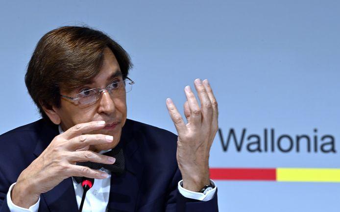 Le ministre-président wallon Elio Di Rupo en conférence de presse à Namur, ce 20 juillet 2021.