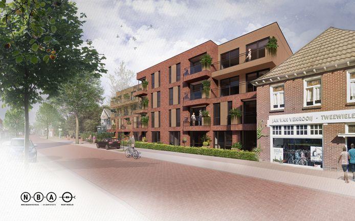 Het toekomstige appartementencomplex op de plek van het voormalige tankstation van Gielis aan de Kruisstraat in Oss.