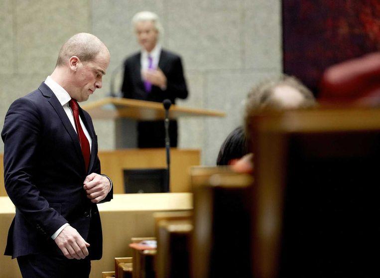Diederik Samsom en Geert Wilders in debat. Beeld anp