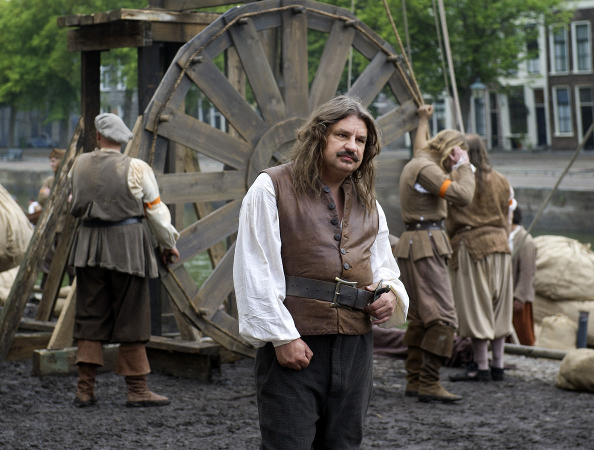 Acteur Frank Lammers (Michiel de Ruyter) op de set van speelfilm Michiel de Ruyter van regisseur Roel Reine over het leven van de zeeheld.