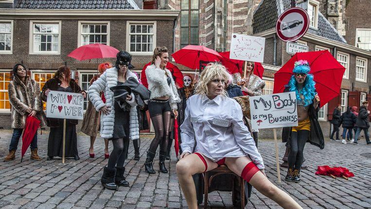 De sekswerkers eindigden hun toer in Amsterdam Beeld Amaury Miller (www.amaurymiller.nl)
