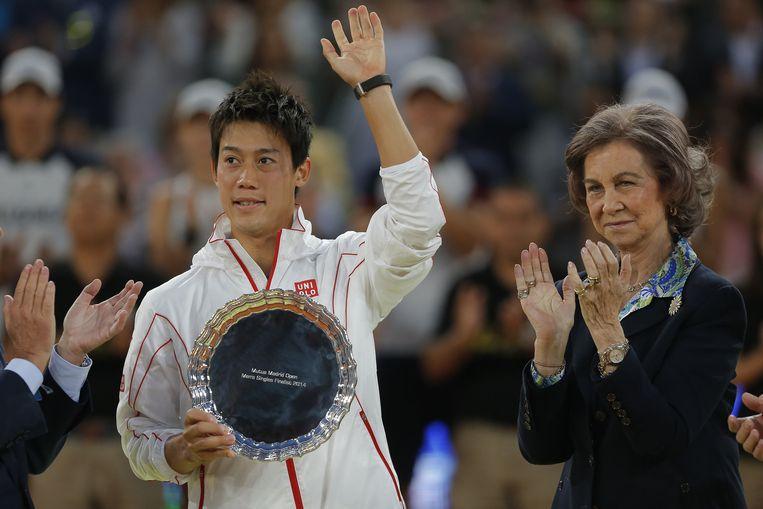 De Japanner Kei Nishikori houdt aan zijn verloren finale in Madrid een plaats in de top-10 over. Beeld AP