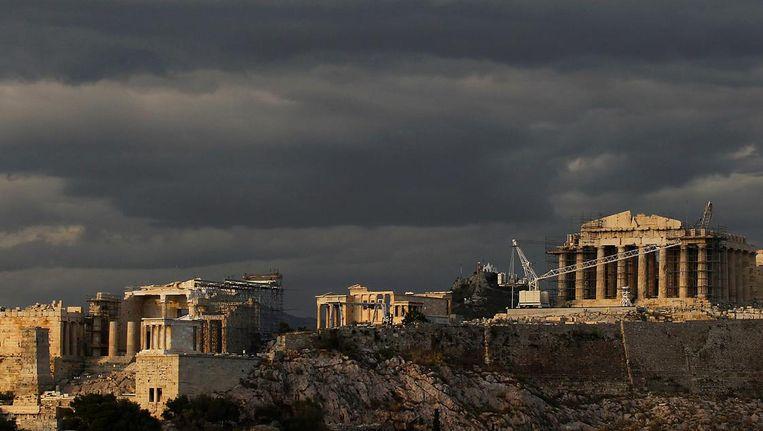 Restauratiewerkzaamheden aan het Parthenon op de Akropolis, in Athene, 'symbool van radicale vernieuwingen'. Beeld EPA