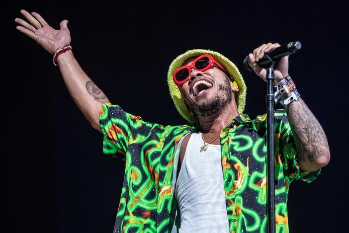 De Amerikaanse rapper Anderson .Paak treedt op tijdens de tweede dag van de 27e editie van muziekfestival A Campingflight to Lowlands Paradise.