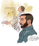Rechtbanktekening van Samir A. in de Rotterdamse rechtbank donderdagochtend. A. moest voorkomen omdat hij geld heeft gestuurd naar Nederlandse vrouwen in detentiekampen in Syrië.