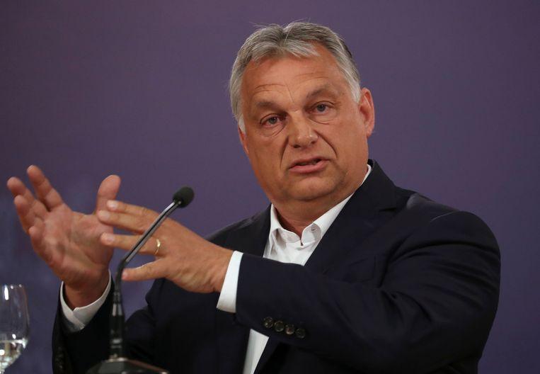 Hongaarse premier Viktor Orban. Uit onderzoek van nieuwssite 'Válasz Online' blijkt dat meer dan de helft van de Hongaarse media in handen van de regering of haar bondgenoten zijn.   Beeld REUTERS