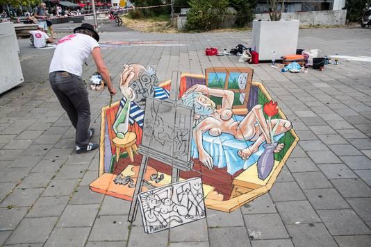 Een straattekening uit een van de eerdere edities van het World Street Painting festival in Arnhem.
