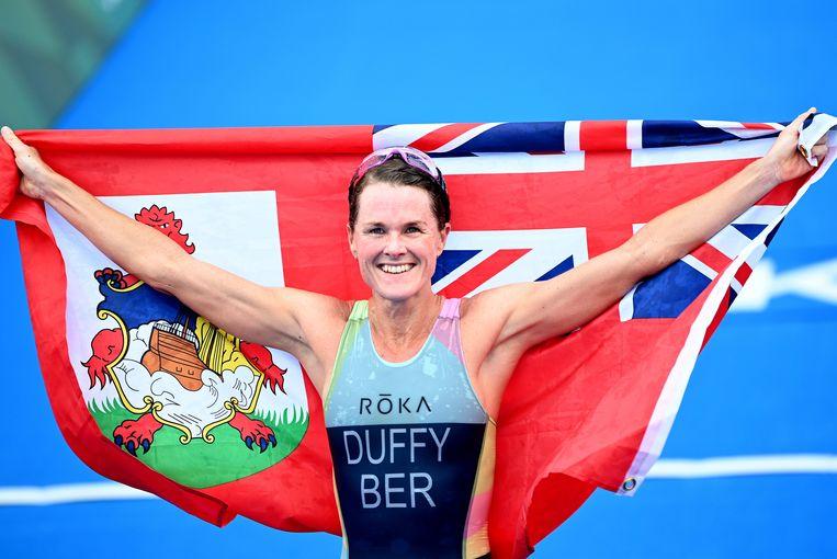 Triatlete Flora Duffy schenk Bermuda de eerste gouden medaille ooit op de Spelen. Beeld Photo News