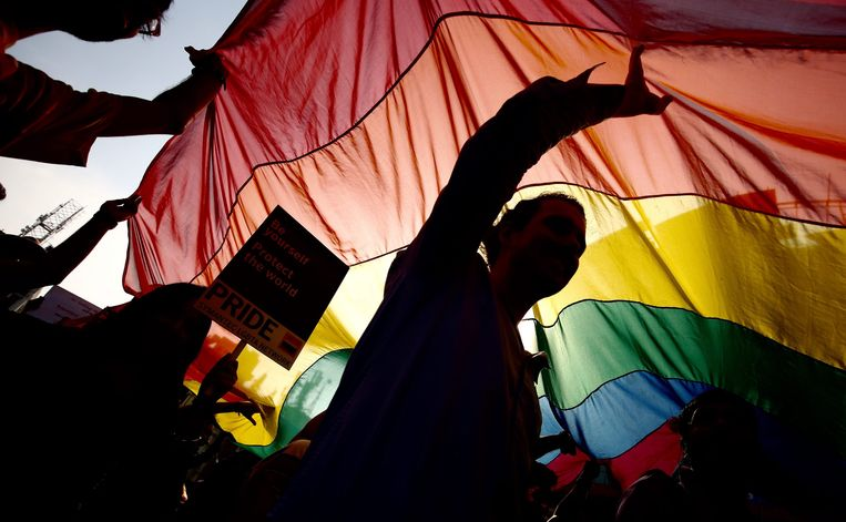 Mensen van de LGBT-community zwaaien trots met de regenboogvlag tijdens een Gay Pride in India.  Beeld EPA