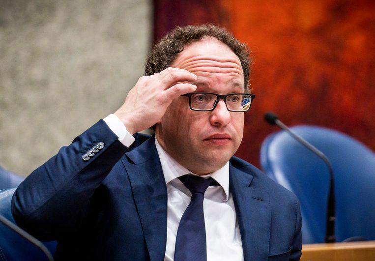 Minister Wouter Koolmees van Sociale Zaken en Werkgelegenheid (D66) tijdens het debat over wet Arbeidsmarkt in Balans in de Tweede Kamer. Beeld Freek van den Bergh /  ANP