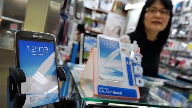 Samsung-smartphones in een winkel in Taipei, Taiwan. Beeld ap