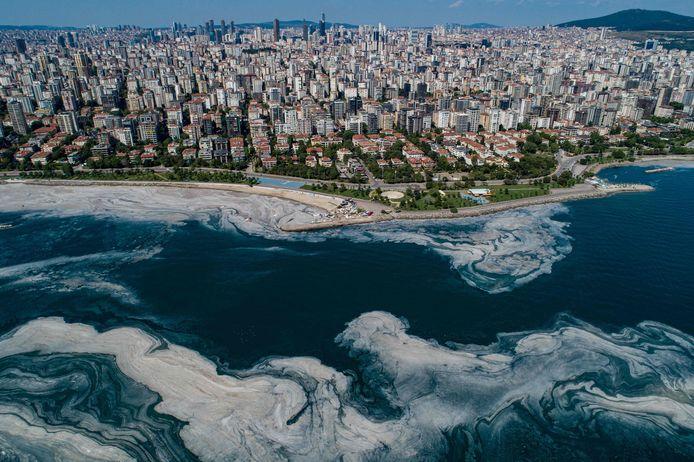 'Zeeslijm of 'zeesnot' verstikt het mariene leven voor de kust van Istanboel in Turkije.