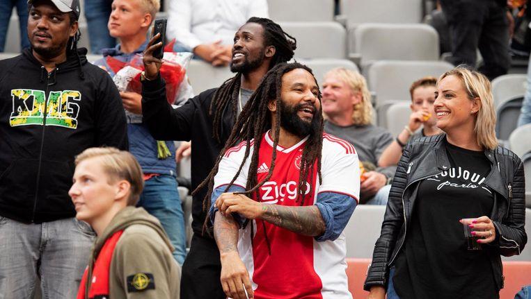 Ky-Mani Marley, met Ajax shirt, bij de wedstrijd Ajax tegen FC Emmen. Beeld anp