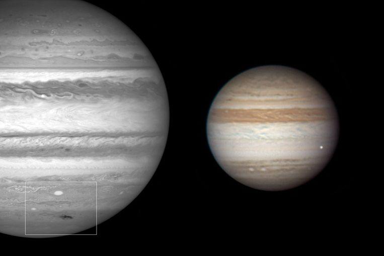 Rechts de inslag (het witte vlekje rechtsonder) van een onbekend projectiel op Jupiter van donderdag, links de zwarte vlek die ontstond na een inslag in de zomer van vorig jaar. (Foto's NASA/Hubble/Anthony Wesley (rechts)) Beeld