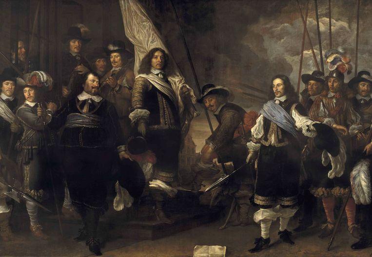 Schutters van de compagnie van kapitein Joan Huydecoper en luitenant Frans van Waveren, van Govert Flinck uit 1648. Onderdeel van de collectie van het Amsterdam Museum Beeld EPA