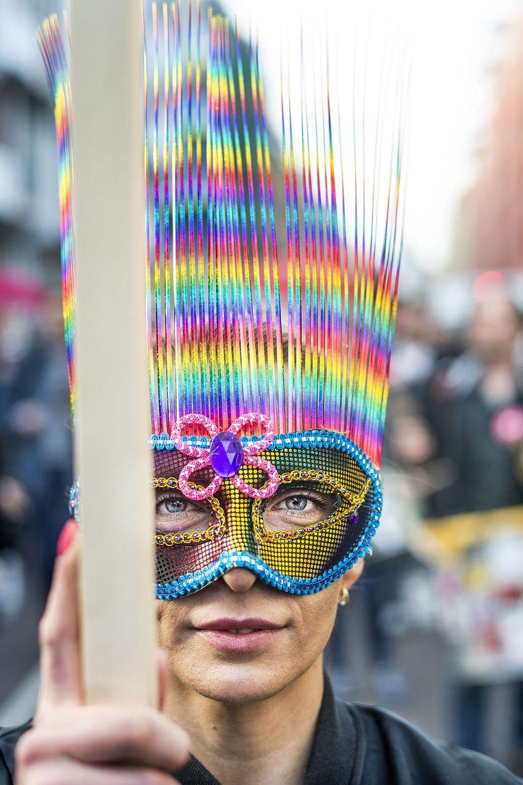 Een van prostituees en sympathisanten die donderdagavond demonstreren in Amsterdam. Beeld Guus Dubbelman / de Volkskrant