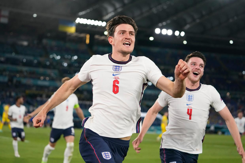 Het Engelse elftal viert een goal tijdens het duel met Oekraïne. Beeld AP