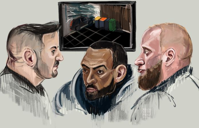 Rechtbanktekening van Burak K., Ajoub M. en Roberto R. in de rechtbank van Zwolle. Ze worden verdacht van het tot ontploffing brengen van een vuurwerkbom tijdens de nieuwjaarsnacht in Deventer.