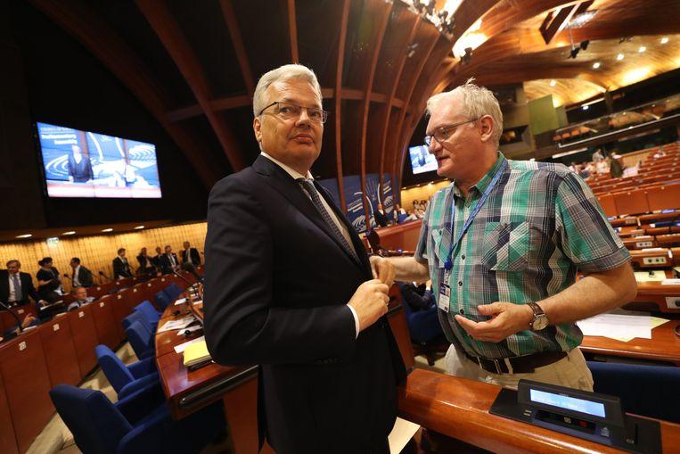Reynders vertoeft sinds maandag in Straatsburg, waar hij ook woensdag nog afgevaardigden en politieke fracties probeert te overtuigen van de troeven van zijn kandidatuur.  Beeld BELGA