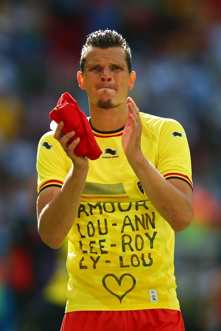Van Buyten na zijn laatste match, de WK-kwartfinale tussen Argentinië en België. Beeld GETTY