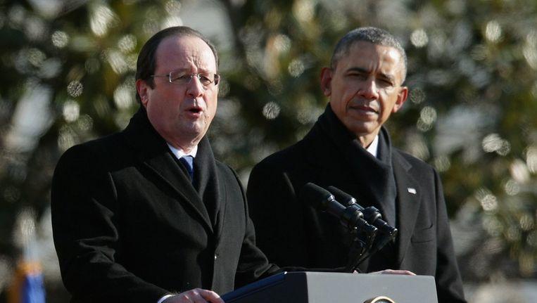 Links: de Franse president Francois Hollande, rechts de Amerikaanse premier Barack Obama Beeld EPA