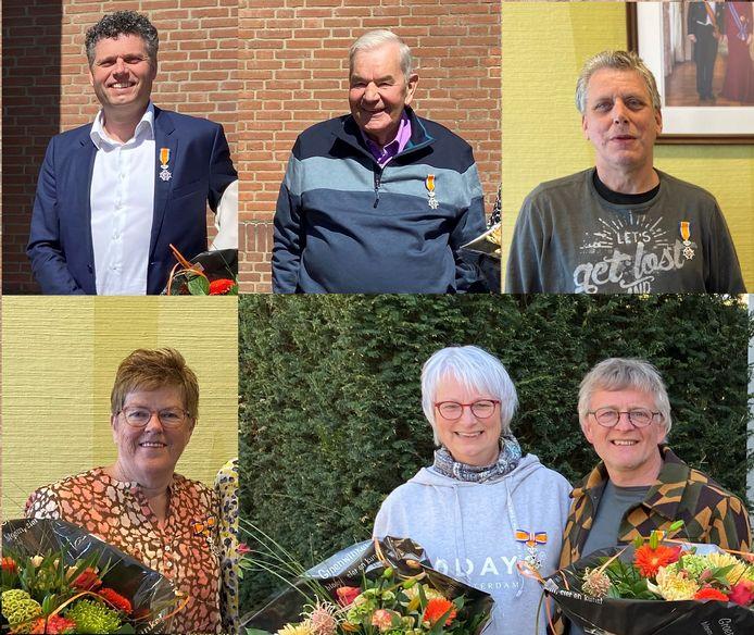 Gedecoreerden Beuningen, met de klok mee Mark van Loveren, de heer Thomassen, de heer Van Bergen, mevrouw en de heer Van de Weetering-Zomer en mevrouw Janssen.