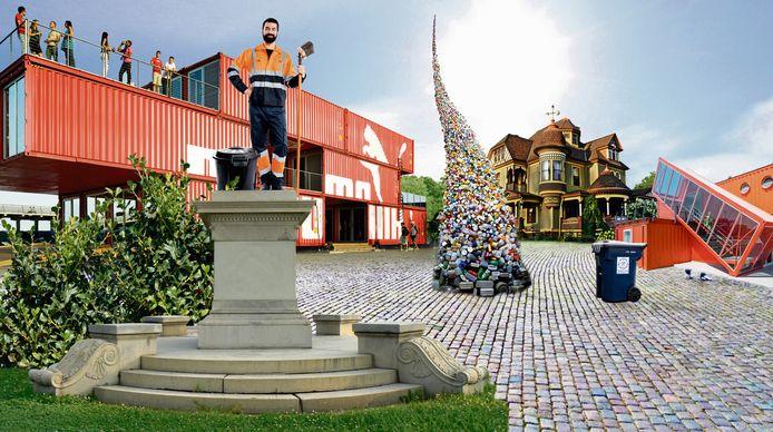 Sfeerbeeld: dit zou de entree van themapark WasteWorld kunnen zijn, met de vuilnisman op een voetstuk.