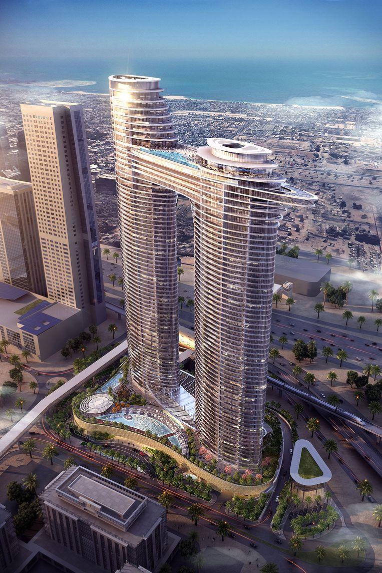 In het ultraprestigieuze Residence Sky View, een spectaculair hotelproject dat nog in aanbouw is in Dubai, heeft El Ballouti een appartement.De prijs wordt op 1,5 miljoen euro geschat. Beeld rv