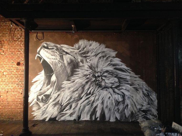 Hugo, het kunstwerk van Charlotte De Cock in Café d'Anvers. Beeld Charlotte De Cock