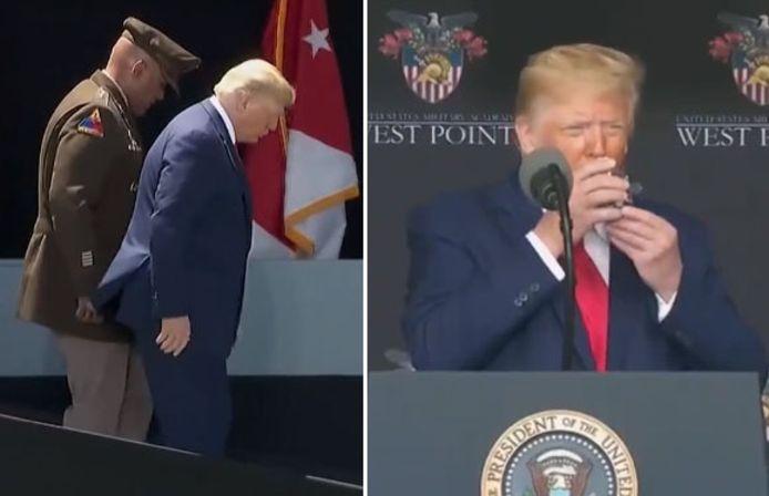 Invité à quitter la scène, Donald Trump a semblé connaître quelques difficultés sur la rampe d'accès. Des médias américains ont également relevé qu'il avait eu besoin de ses deux mains pour porter un verre d'eau à ses lèvres.
