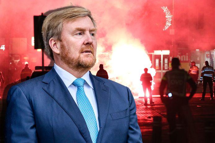 Koning Willem-Alexander sprak vandaag met burgemeesters van Zwolle en Urk over de rellen na de avondklok. Achtergrond: trammelant op Urk.