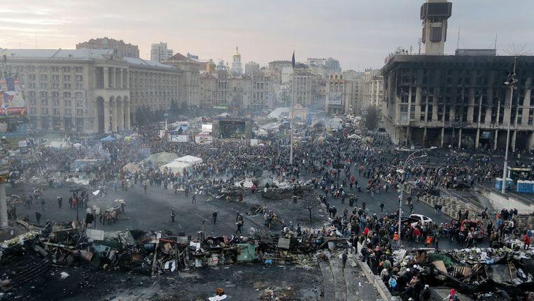 Het centrale plein van Kiev eerder vandaag. Beeld ap