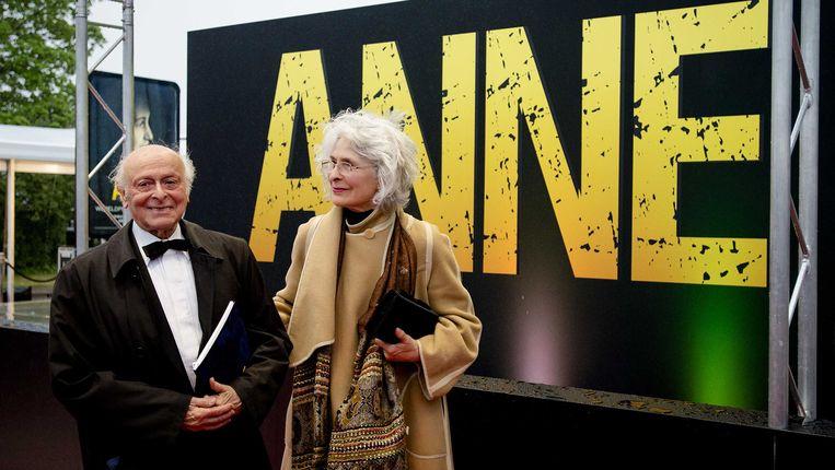 Buddy Elias, neef en het laatst levende familielid van Anne Frank, voorafgaand aan de premiere van de theatervoorstelling Anne. Beeld ANP