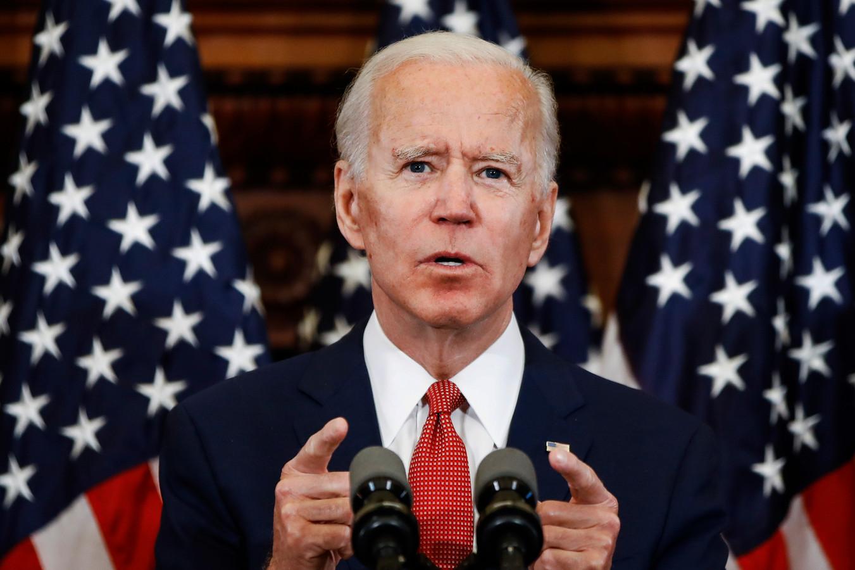 Joe Biden tijdens een toespraak in Philadelphia.