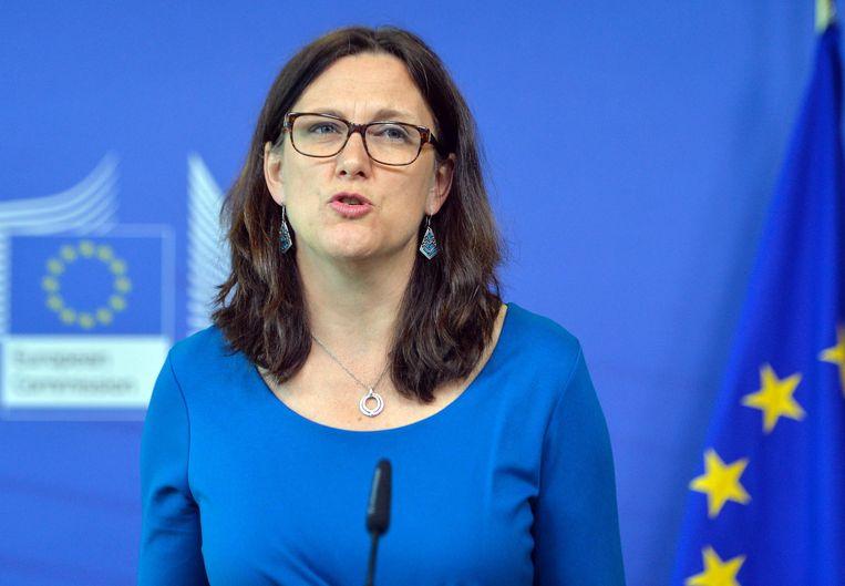 Momenteel onderhandelt de eurocommissaris voor Handel Cecilia Malmström (foto) met de Amerikaanse regering over een permanente vrijstelling. Beeld EPA