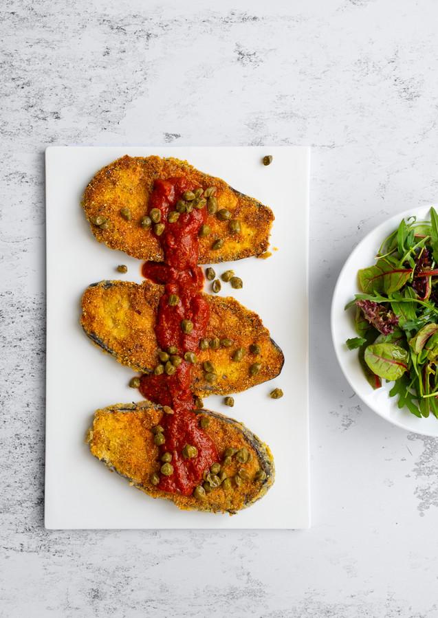 Italiaanse Aubergineschnitzel.