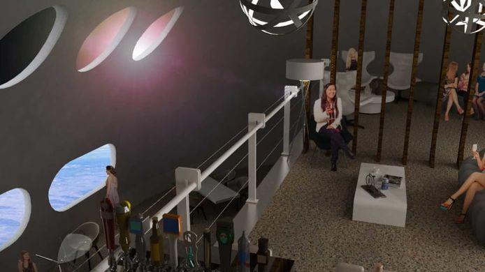 Een bar in het ruimtehotel.