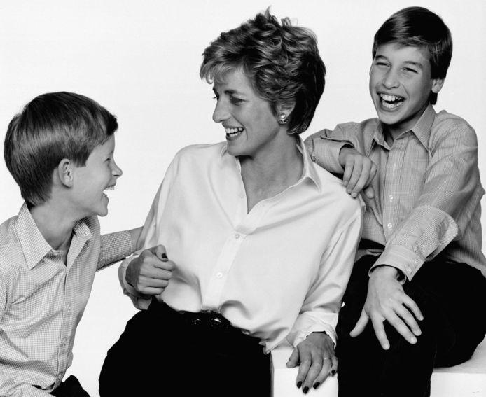 Princess Diana in 1994 met haar zoons Harry en William.