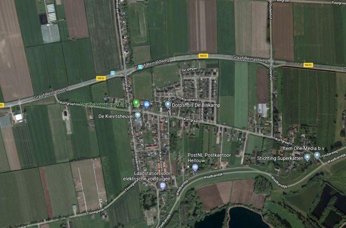 Overzicht Hellouw, nabij Kortgraaf en Graaf Reinaldweg is de bouwlocatie