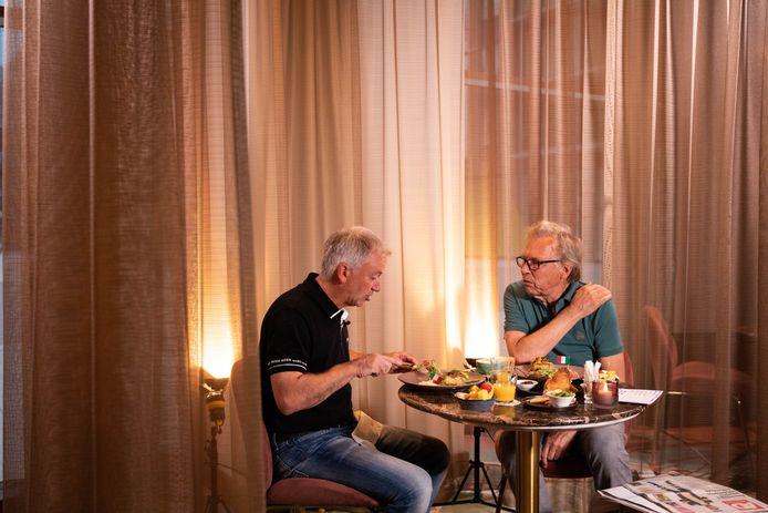 Mulder en Degryse tijdens het ontbijt.