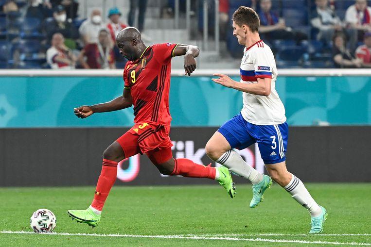 Lukaku legt aan voor de 3-0 tegen Rusland. Beeld BELGA