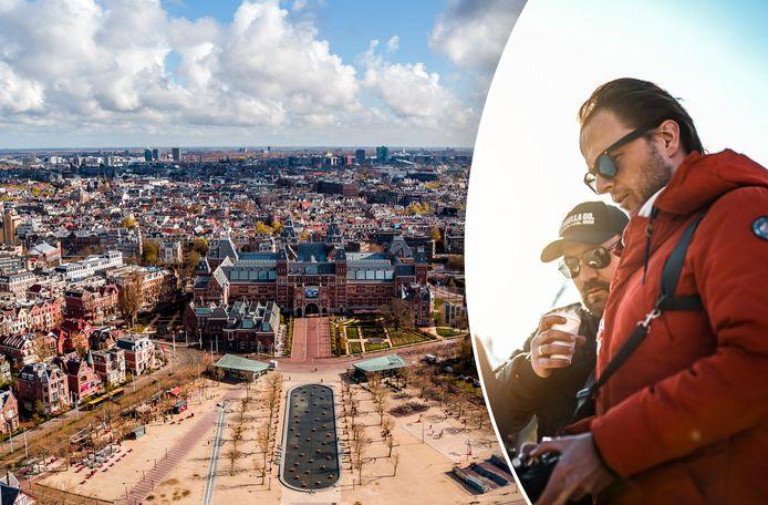 Een dronefoto van Daniël de Ruiter van het Rijksmuseum in Amsterdam.