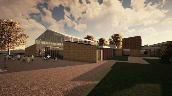 Zo moet het nieuwe gebouw van basisschool De Krugerstee in Vaassen eruit komen te zien.