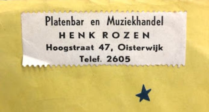 De platenzaaksticker van Henk Rozen.