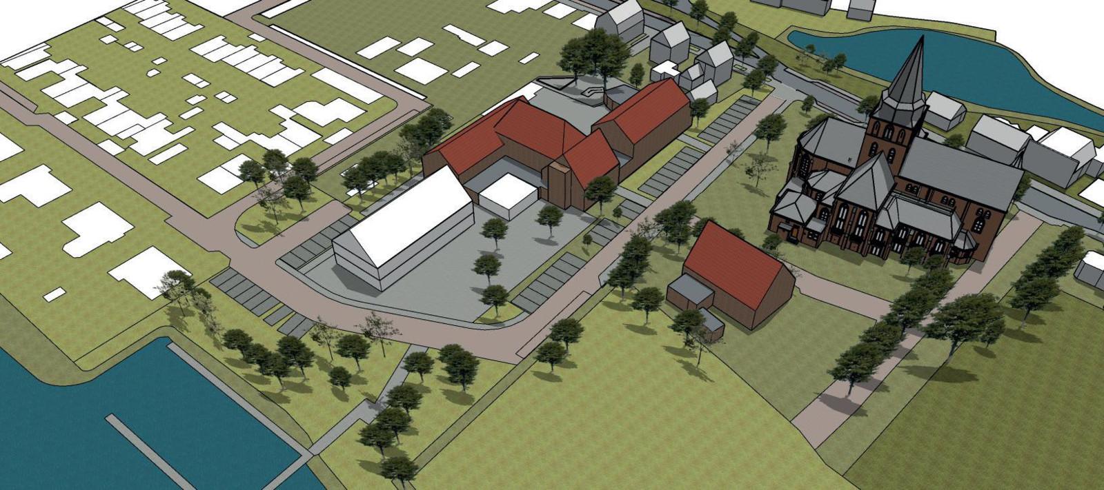 Scenario 1: nieuwbouw gezondheidscentrum in het verlengde van de gymzaal.