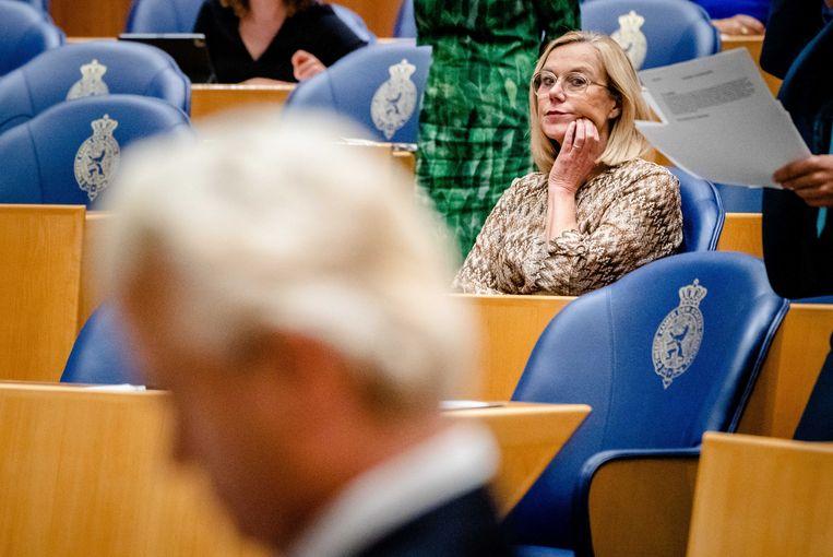 Wilders en Kaag (en een stukje Ouwehand) tijdens de Algemene Beschouwingen.  Beeld ANP